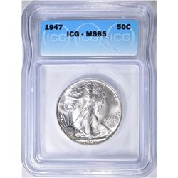 1947 WALKING LIBERTY HALF DOLLAR  ICG MS-65