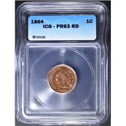1864 INDIAN HEAD CENT  ICG  PR-63 RD