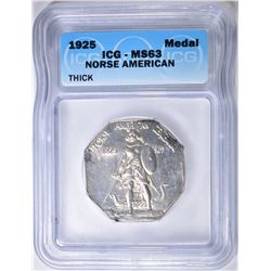 1925 NORSE AMERICAN MEDAL  ICG  MS-63