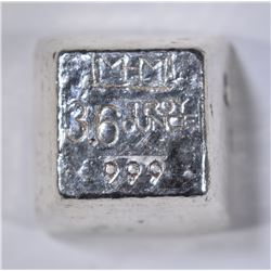 3.6 TROY OZ .999 POURED SILVER CANABIS STAMPED