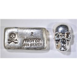 2 TROY OZ .999 SILVER SKULL & CROSS BONES BAR AND