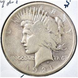1921 PEACE DOLLAR VG/FINE