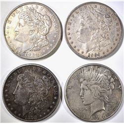 4 CIRCULATED SILVER DOLLARS