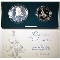 1995 U.S. MINT PROOF CIVIL WAR 2-COIN COMMEM SET