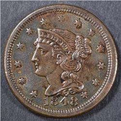 1848 LARGE CENT  CH BU