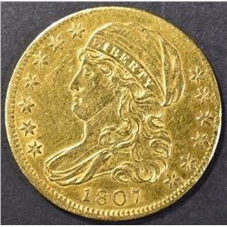 1807 CAPPED BUST $5.00 GOLD  AU/BU