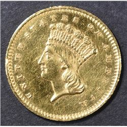 1859 $1 GOLD INDIAN PRINCESS  CH BU PL