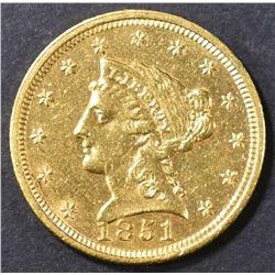 1851 $2.5 GOLD LIBERTY  BU