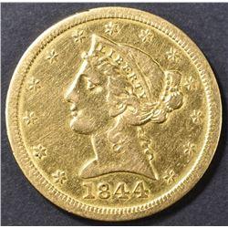 1844-O $5 GOLD LIBERTY  AU