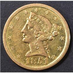 1851-O $5 GOLD LIBERTY   CH AU