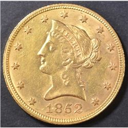 1852 $10 GOLD LIBERTY  BU OLD CLEANING