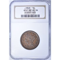 1848 LARGE CENT, NGC MS-64 BN