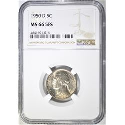 1950 D JEFFERSON NICKEL NGC MS-66 FS