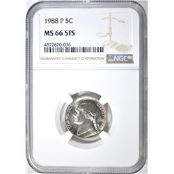 1988-P JEFFERSON NICKEL NGC MS 66 5FS