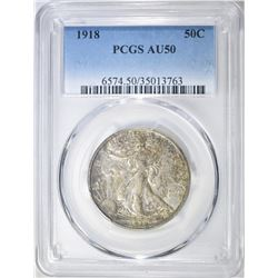 1918 WALKING LIBERTY HALF DOLLAR PCGS AU-50