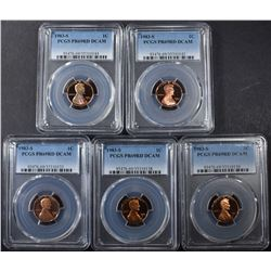 5 1983-S LINCOLN CENTS PCGS PR-69 DCAM