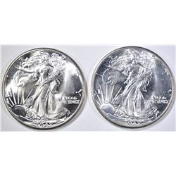 (2) 1942 WALKING LIBERTY HALVES CH BU