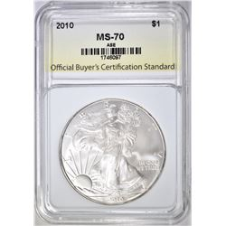 2010 AMERICAN SILVER EAGLE, OBCS PERFECT GEM