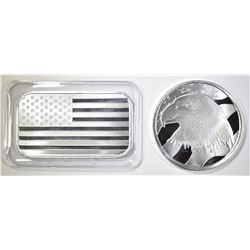 PLEDGE OF ALLEGIANCE & AMERICAN FLAG 1oz SILVER `