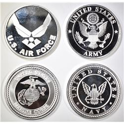 ARMY,NAVY, AIR FORCE & MARINES 1oz SILVER ROUNDS