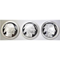 "3-INDIAN/BUFFALO ""STACKABLE"" 1oz  SILVER ROUNDS"