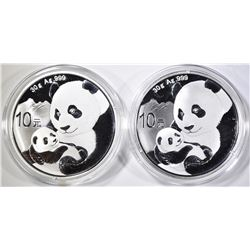 2-2019 CHINESE .999 SILVER PANDA COINS