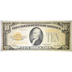 1928 $10.00 GOLD CERTIFICATE, FINE