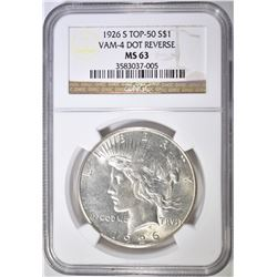1926-S PEACE DOLLAR  NGC MS-63 VAM-4 DOT REVERSE