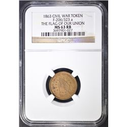 "1863 CWT NGC MS-63 RB ""THE FLAG OF OUR UNION"""