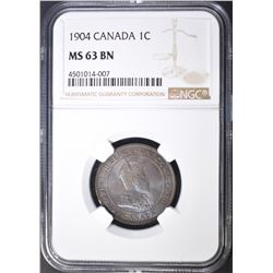 1904 ONE CENT CANADA  NGC MS-63 BN