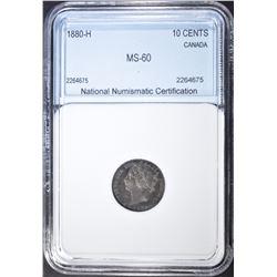 1880-H 10 CENTS CANADA  NNC BU
