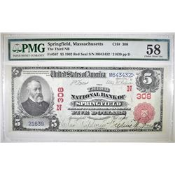1902 RED SEAL $5 NATIONAL CURRENCY PMG 58