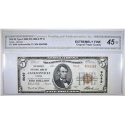 1929 TYPE 2 $5 NATIONAL CURRENCY CGA XF OPQ