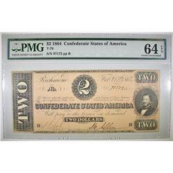1864 $2 CONFEDERATE STATES OF AMERICA PMG 64 EPQ
