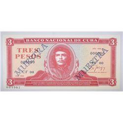 1986 3 GOLD PESOS CUBA GEM CU