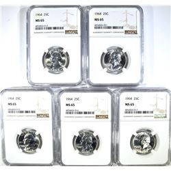 ( 5 ) 1964 WASHINGTON QTR NGC MS65