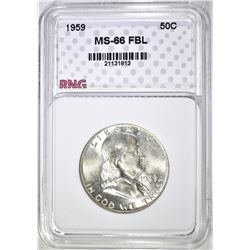 1959 FRANKLIN HALF, RNG SUPERB GEM BU FBL