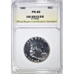 1960 FRANKLIN HALF, OBCS SUPERB GEM+ PROOF