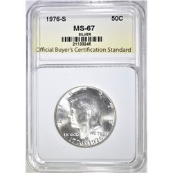 1976-S SILVER KENNEDY HALF, OBCS SUPERB GEM BU
