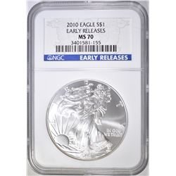 2010 AMERICAN SILVER EAGLE NGC MS-70