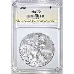 2012 AMERICAN SILVER EAGLE, OBCS PERFECT GEM BU