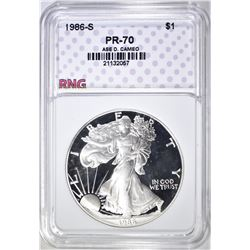 1986-S SILVER EAGLE RNG PERFECT GEM PROOF DCAM