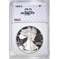 1992-S SILVER EAGLE RNG PERFECT GEM PROOF DCAM