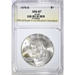 1976-S SILVER IKE DOLLAR, OBCS SUPERB GEM BU