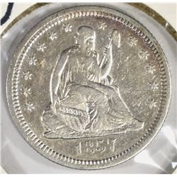 1857-O LIBERTY SEATED QUARTER XF