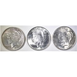 3-CH BU 1922 PEACE DOLLARS