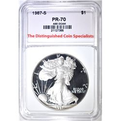 1987-S SILVER EAGLE, TDCS PERFECT GEM PROOF DCAM