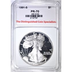 1991-S SILVER EAGLE, TDCS PERFECT GEM PROOF DCAM