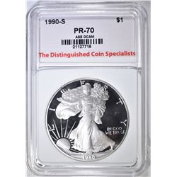 1990-S SILVER EAGLE, TDCS PERFECT GEM PROOF DCAM