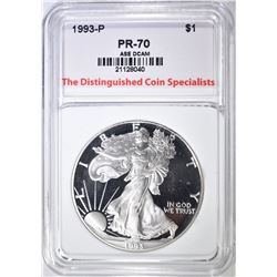 1993-P SILVER EAGLE, TDCS PERFECT GEM PROOF DCAM